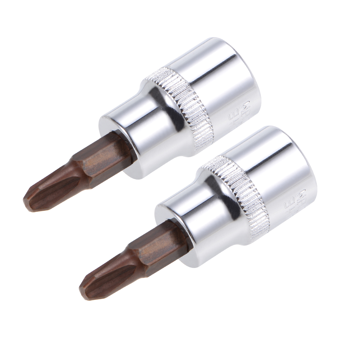 "2 Pcs 3/8"" Drive x #3 Phillips Bit Socket, Standard Metric, S2 and Cr-V Steel"