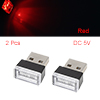 2pcs Red Car Interior Flexible USB LED Light Bulb Neon Atmosphere Ambient Lamp