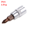 1/4-Inch Drive Bit Socket PH1 S2 Steel 38mm Length 5 Pcs