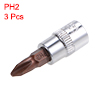 1/4-Inch Drive Bit Socket PH2 S2 Steel 38mm Length 3 Pcs