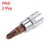 1/4-Inch Drive Bit Socket PH3 S2 Steel 38mm Length 2 Pcs