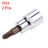3/8-Inch Drive Bit Socket PH3 S2 Steel 48mm Length 2 Pcs