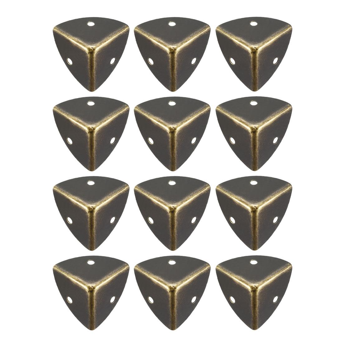 Metal Box Corner Protectors Edge Guard Protector 28x28x28mm Bronze Tone 12pcs