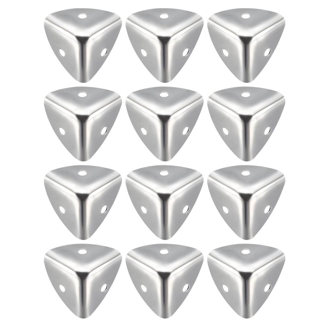 Metal Box Corner Protectors Edge Protector 25 x 25 x 25mm Silver Tone 12pcs