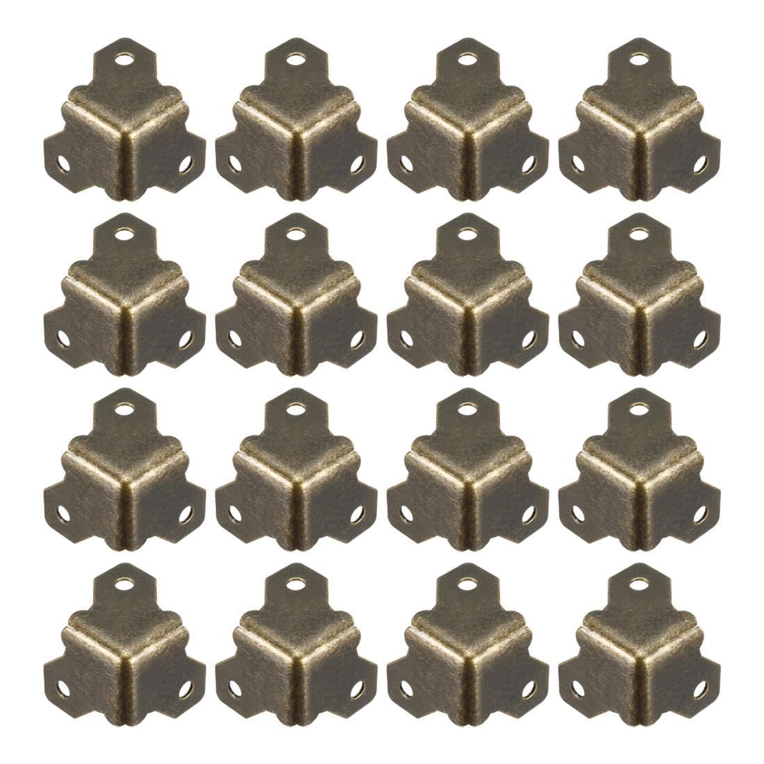 Metal Box Corner Protectors Edge Guard Protector 21x21x21mm Bronze Tone 16pcs