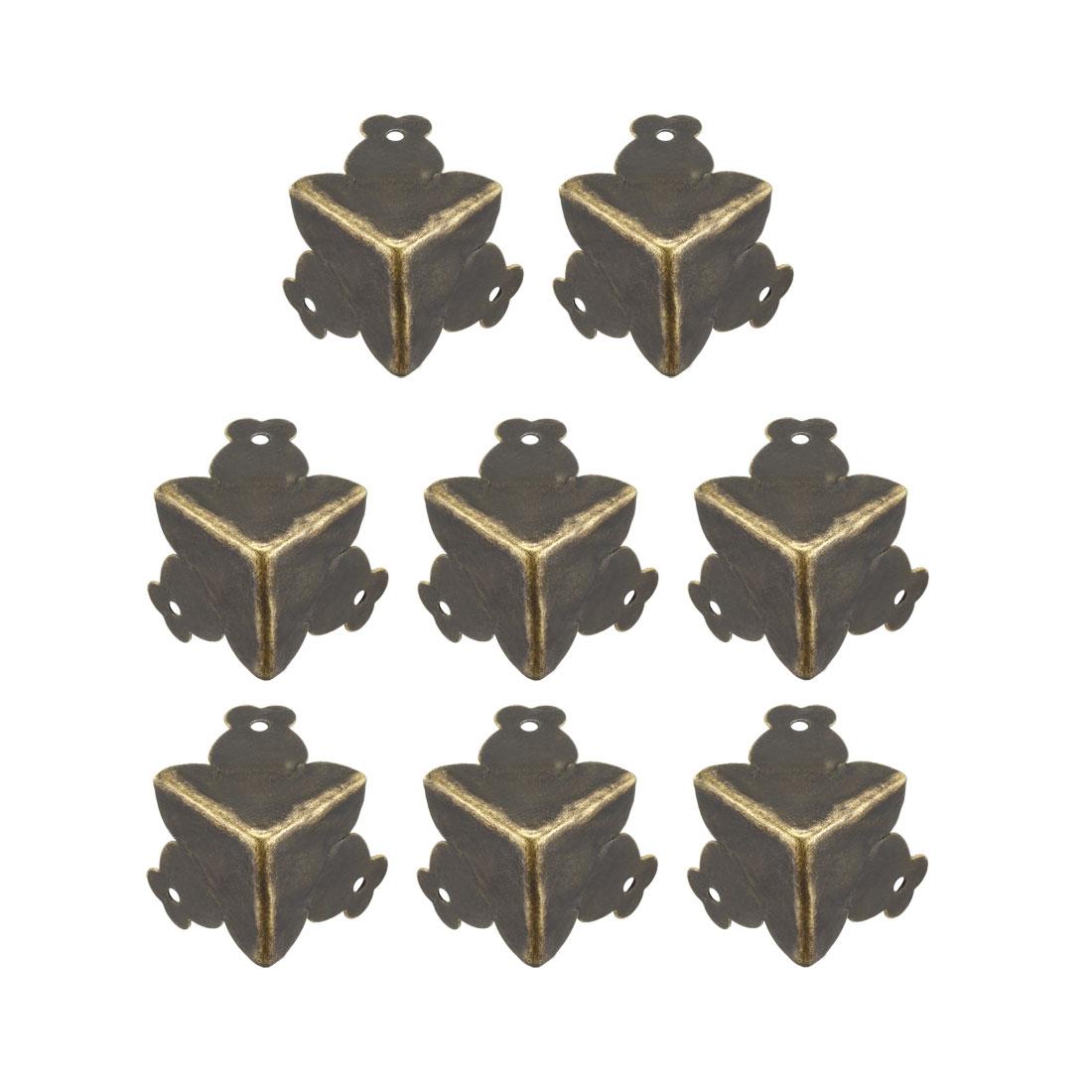Metal Box Corner Protectors Edge Protector 33mm x 33mm x 33mm Bronze Tone 8pcs