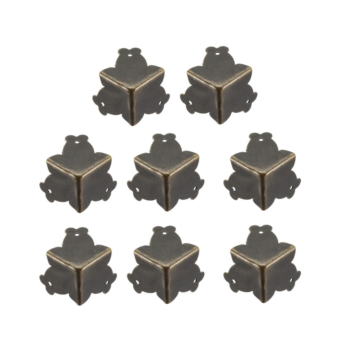 Metal Box Corner Protectors Edge Guard Protector 25x25x25mm Bronze Tone 8pcs