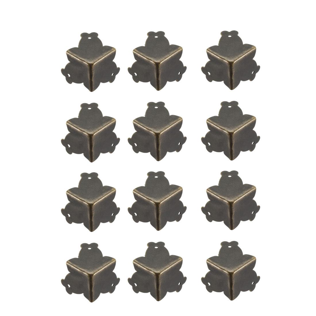 Metal Box Corner Protectors Edge Guard Protector 25x25x25mm Bronze Tone 12pcs