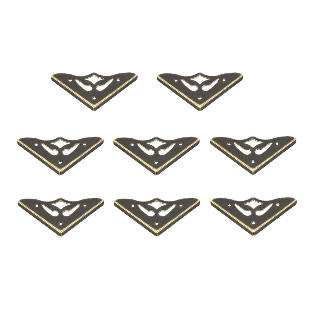 Metal Desk Corner Protectors Table Edge Cover Guard 36x36x3.3mm Bronze Tone 8pcs