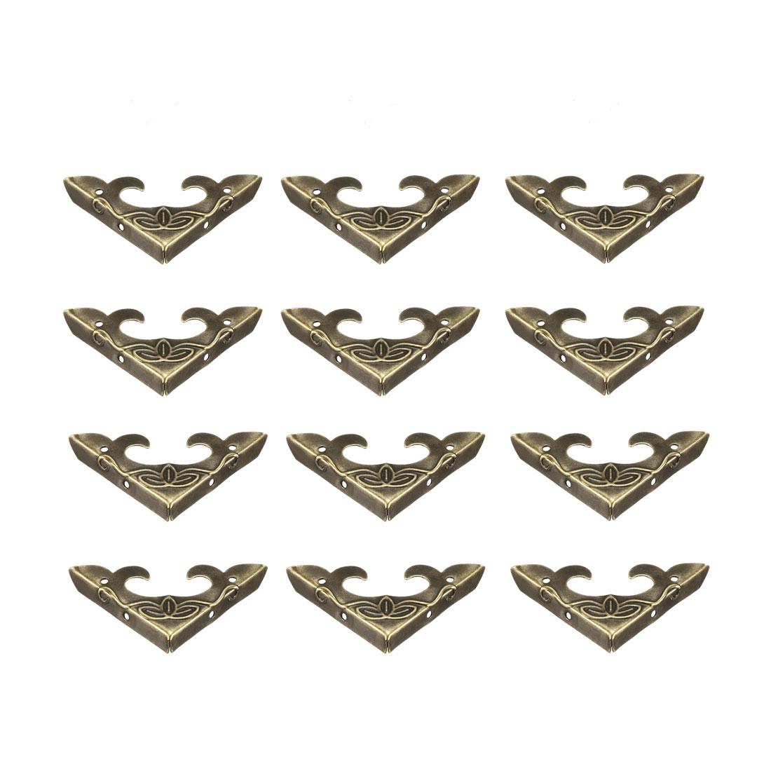 Metal Desk Corner Protectors Table Edge Cover Guard 31x31x5mm Bronze Tone 12pcs
