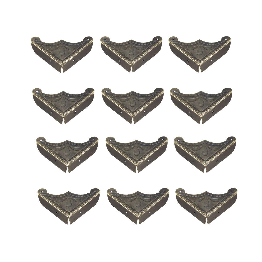 Metal Desk Corner Protectors Table Edge Cover Guard 57x57x13mm Bronze Tone 12pcs
