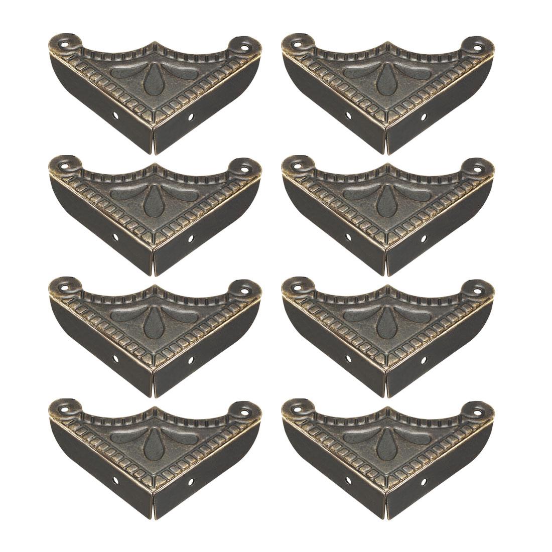 Metal Desk Corner Protectors Table Edge Cover Guard 39x39x9mm Bronze Tone 8pcs