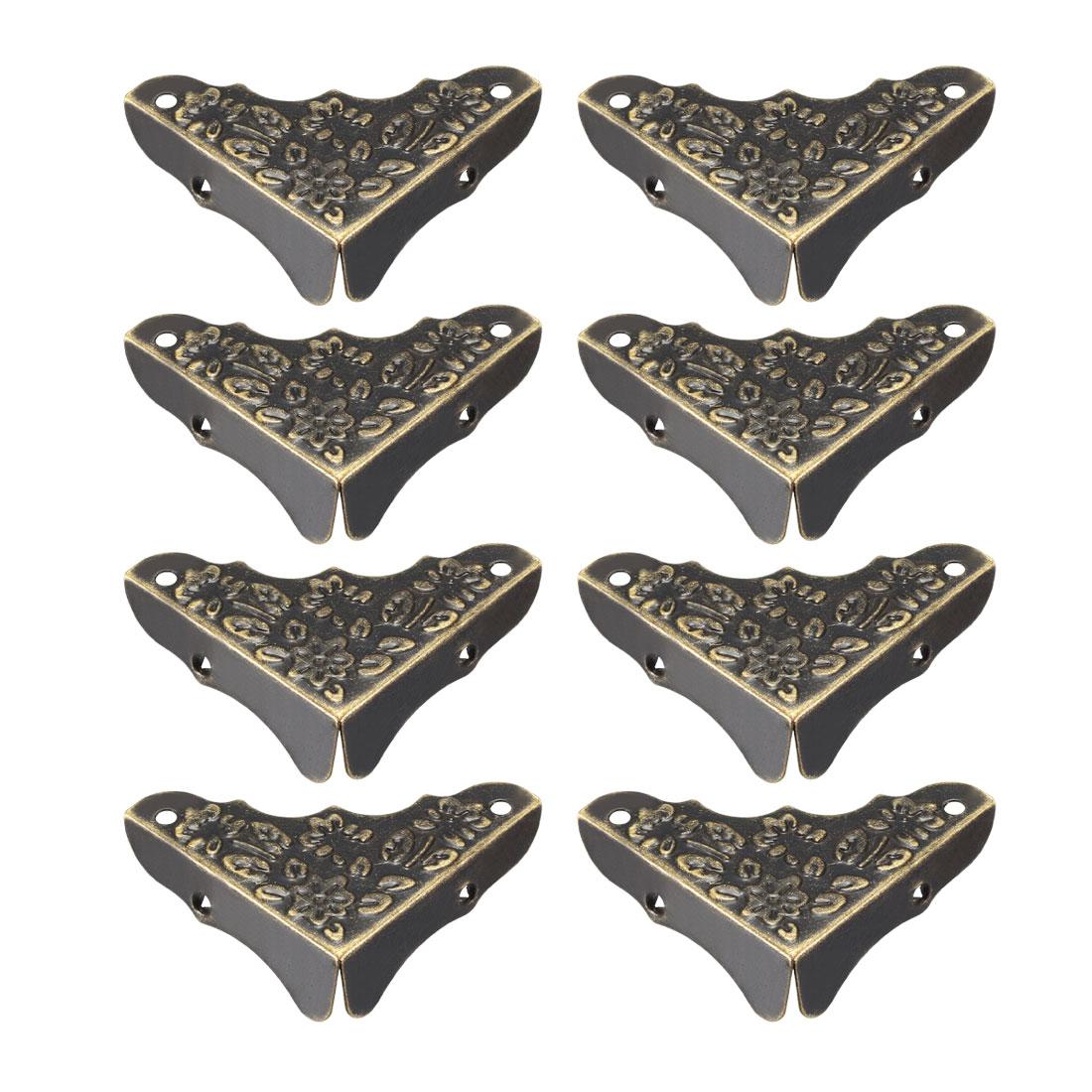 Metal Desk Corner Protectors Table Edge Cover Guard 38x38x12mm Bronze Tone 8pcs