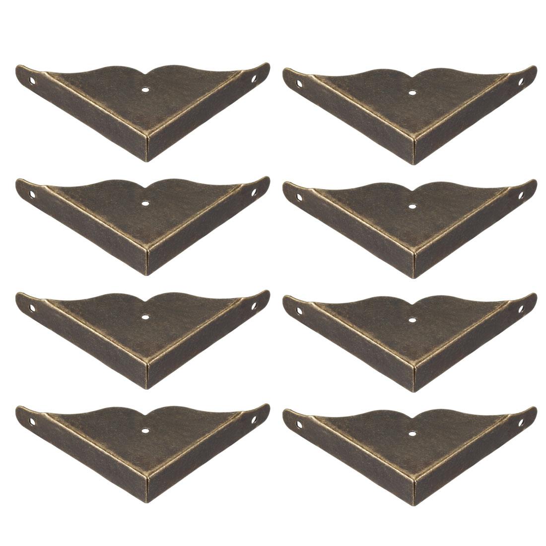 Metal Desk Corner Protectors Table Edge Cover Guard 39x39x8mm Bronze Tone 8pcs
