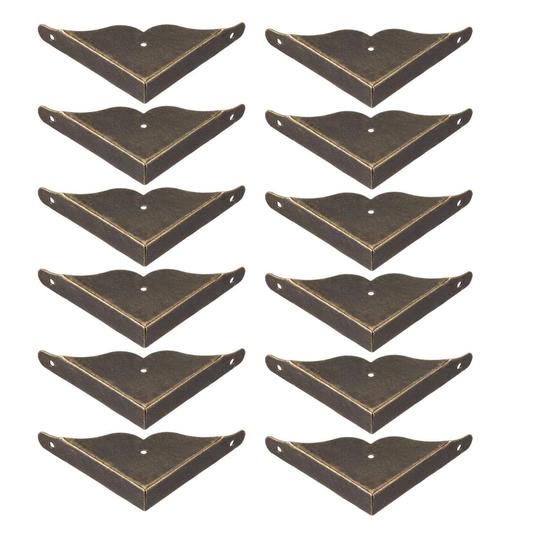 Metal Desk Corner Protectors Table Edge Cover Guard 39x39x8mm Bronze Tone 12pcs
