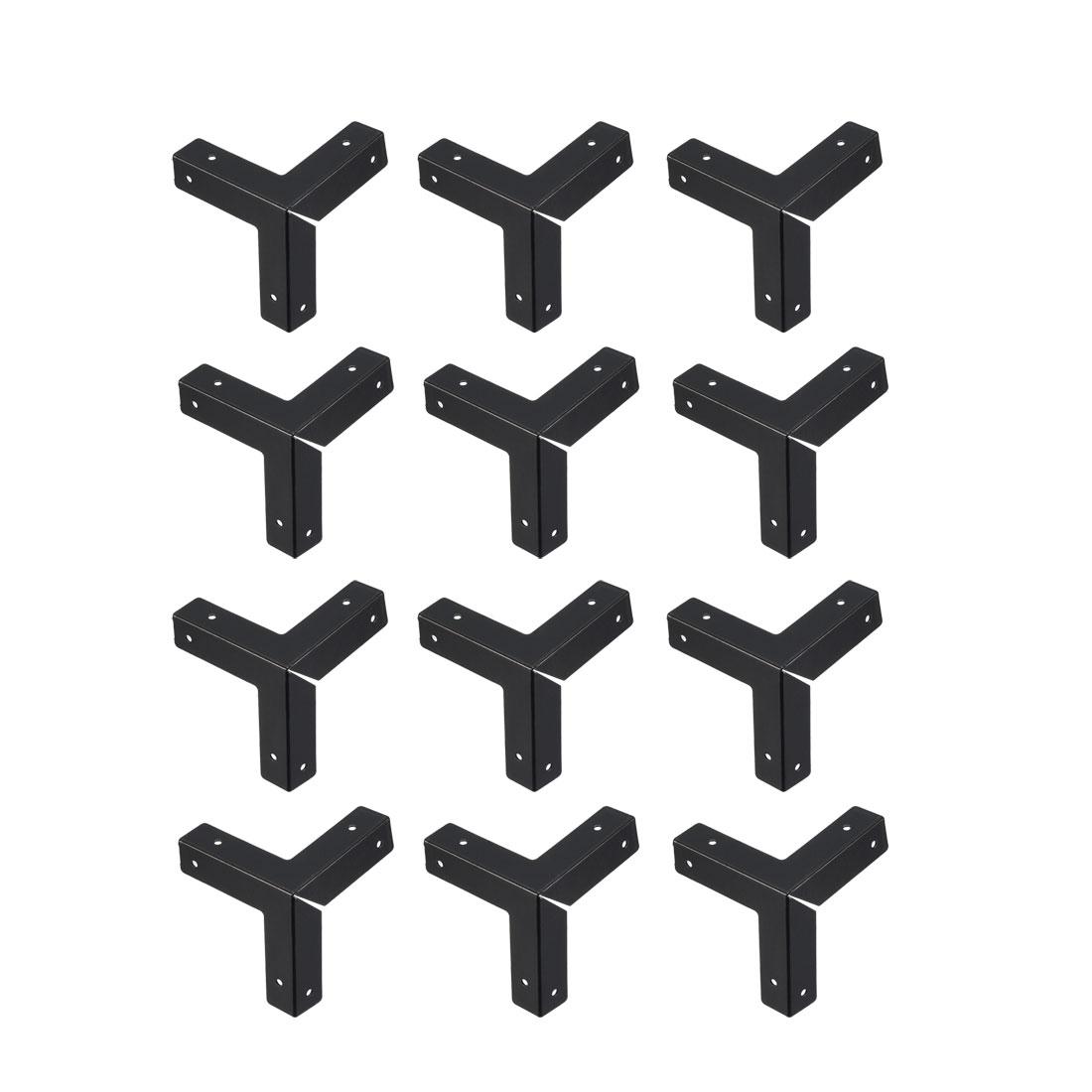 Metal Box Corner Protectors Edge Guard Protector 33 x 33 x 33mm Black 12pcs