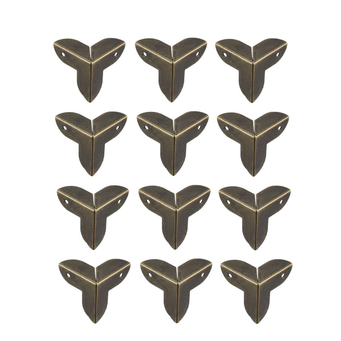 Metal Box Corner Protectors Edge Guard Protector 22x22x22mm Bronze Tone 12pcs