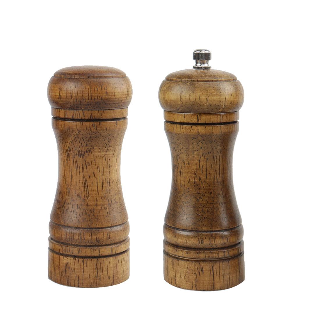 """5.5"""" Wooden Pepper Grinder and Salt Shaker Set with Adjustable Coarseness"""