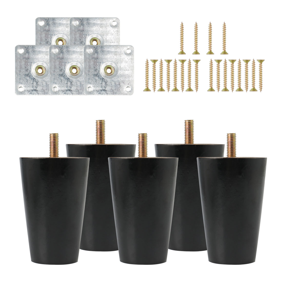 "3"" Solid Wood Furniture Leg Table Feet Hoist Adjuster Replacement Black Set of 5"