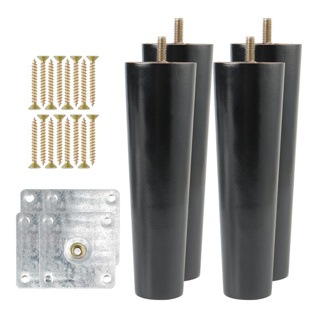 "7"" Solid Wood Furniture Leg Table Feet Hoist Adjuster Replacement Black Set of 4"