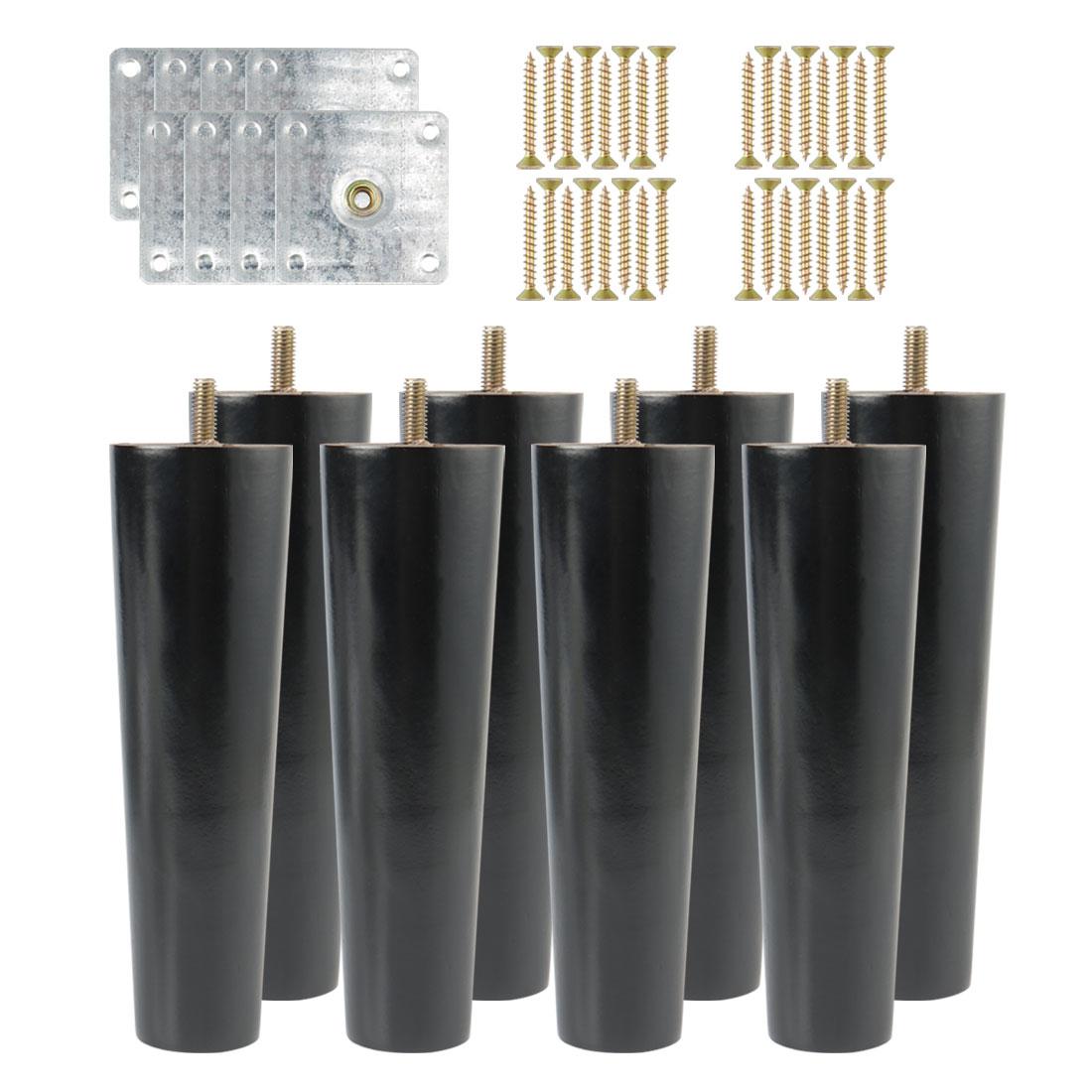 "7"" Solid Wood Furniture Leg Table Feet Hoist Adjuster Replacement Black Set of 8"