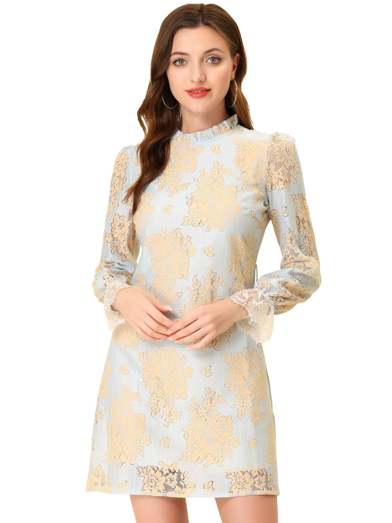 Allegra K Women's Ruffle Crew Neck Mini Floral Lace Dress Light Blue S