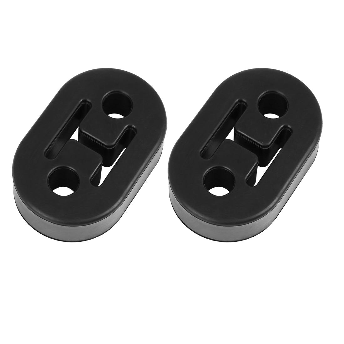 2pcs 2 Holes 12mm Dia Black EPDM Rubber Car Exhaust Hangers Bushing 73x47x21mm
