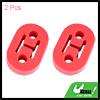 2pcs 2 Holes 12mm Dia Red EPDM Rubber Car Exhaust Hangers Bushing 73x47x21mm