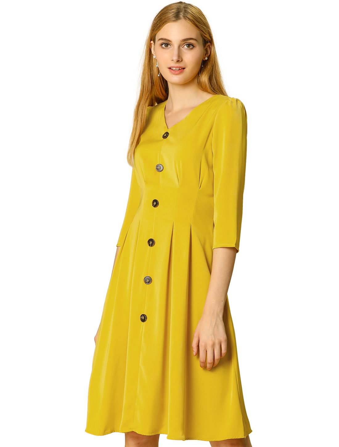Allegra K Women's V Neck Belted Pleated A-line Dress Yellow XL