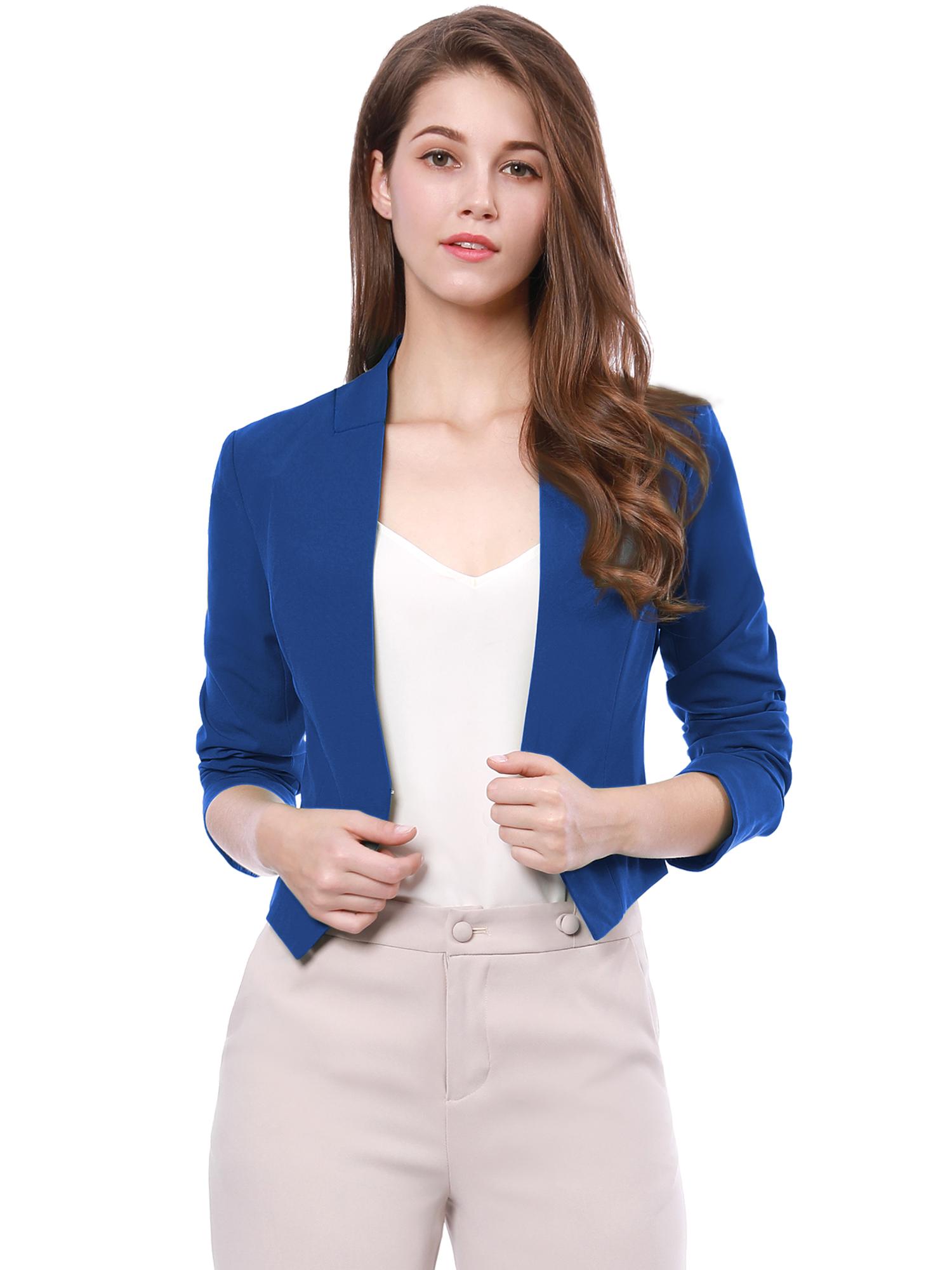 Allegra K Women Collarless Work Business Cropped Blazer Blue S
