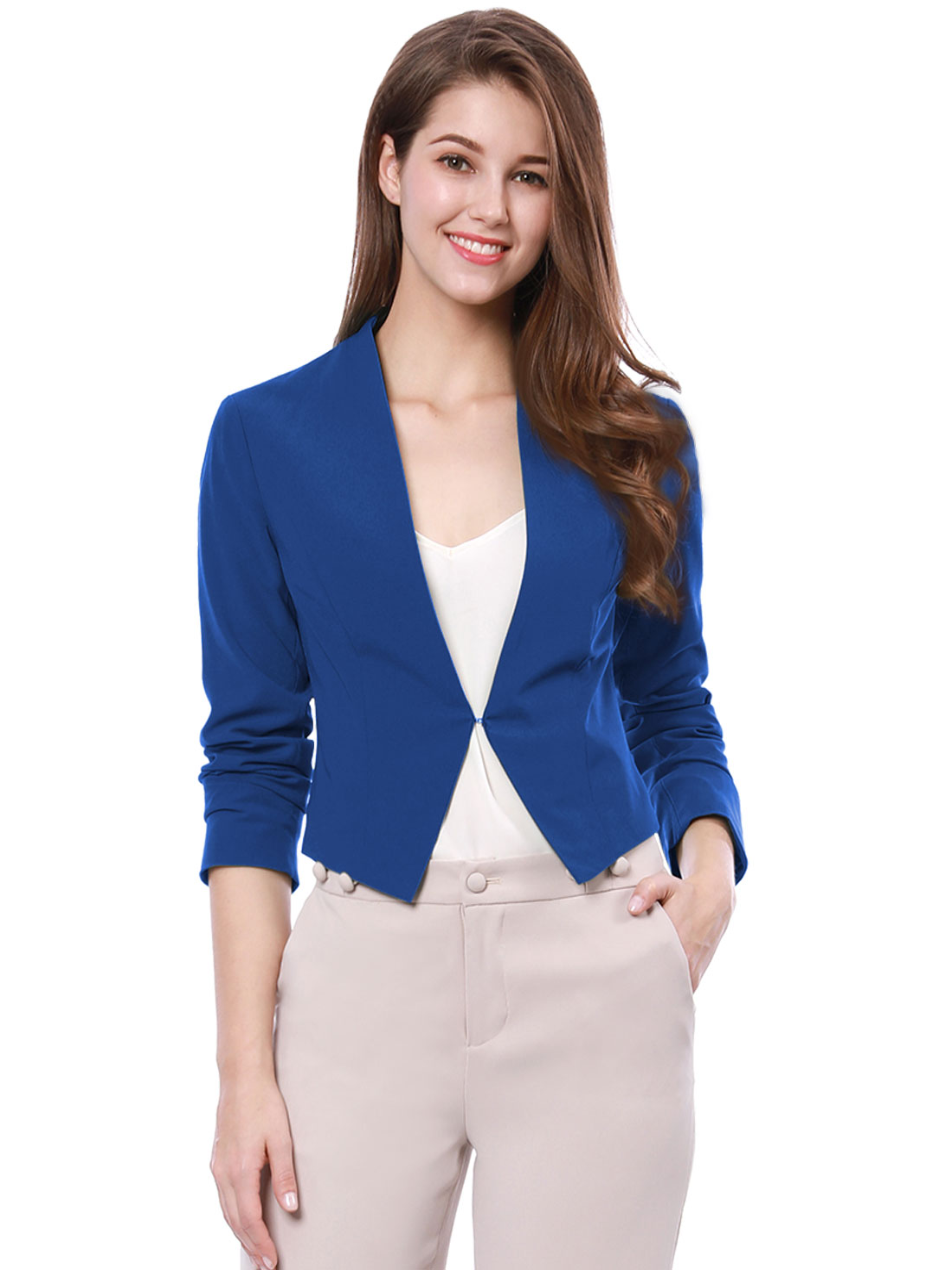 Allegra K Women Collarless Work Business Cropped Blazer Blue L