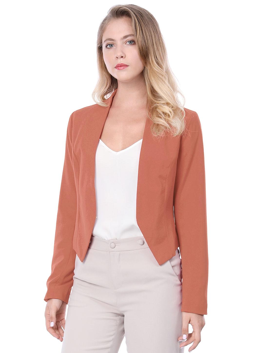 Allegra K Women Collarless Work Business Cropped Blazer Brick Red XL