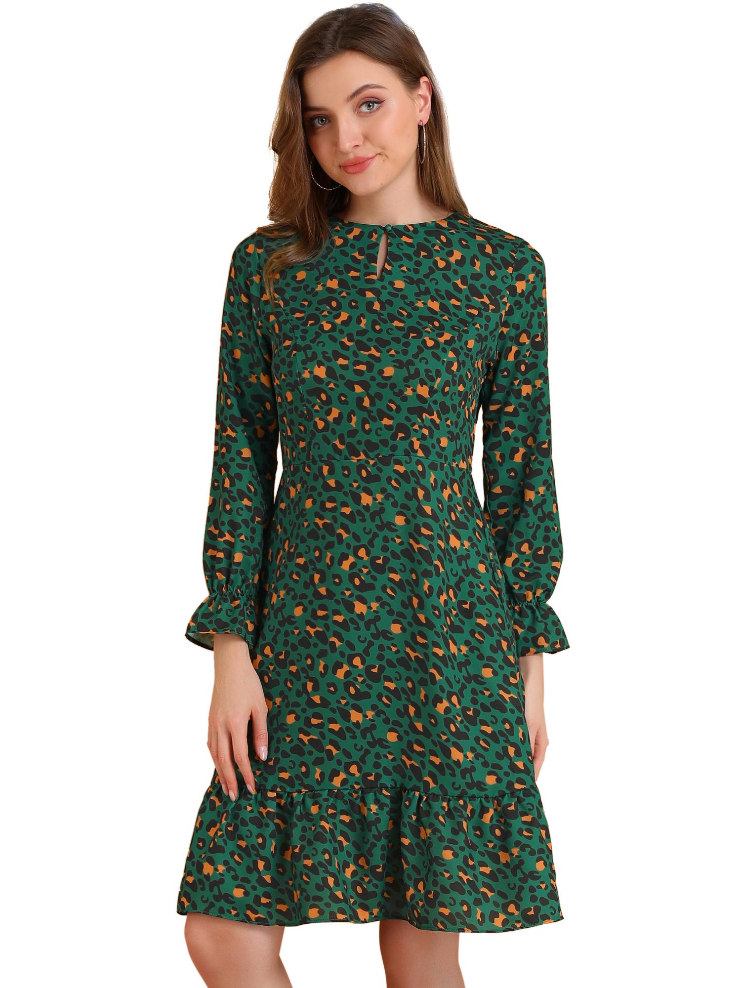 Women's Leopard Print Long Sleeve Keyhole Ruffle Hem Dress Green S (US 6)