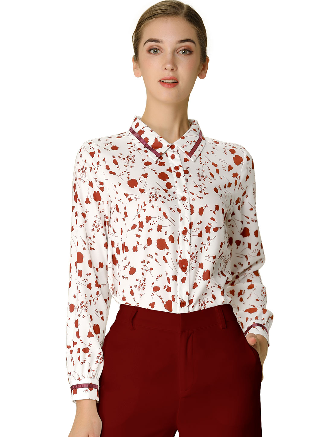 Allegra K Women's Long Sleeve Shirt Casual Button Up Floral Print Tops White L