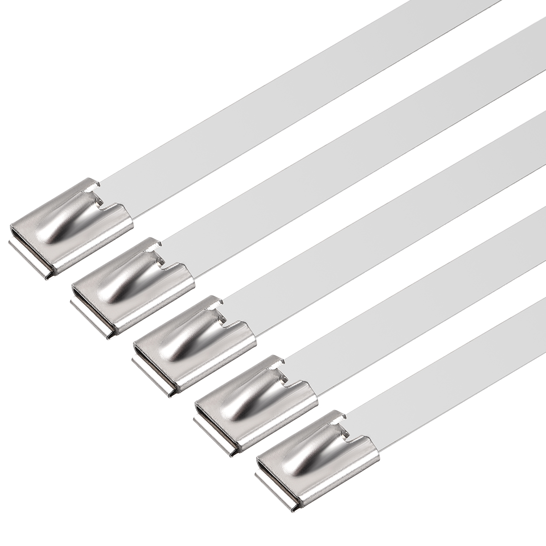 39 Inch Stainless Steel Cable Zip Ties 0.4 Inch Width Metal Exhaust Wrap 5pcs