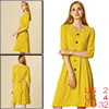 Allegra K Women's V Neck Belted Pleated A-line Dress Yellow XS (US 2)