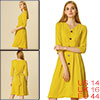 Allegra K Women's V Neck Belted Pleated A-line Dress Yellow L (US 14)