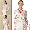 Allegra K Women's Point Collar Floral Long Sleeves Button Up Shirt White L