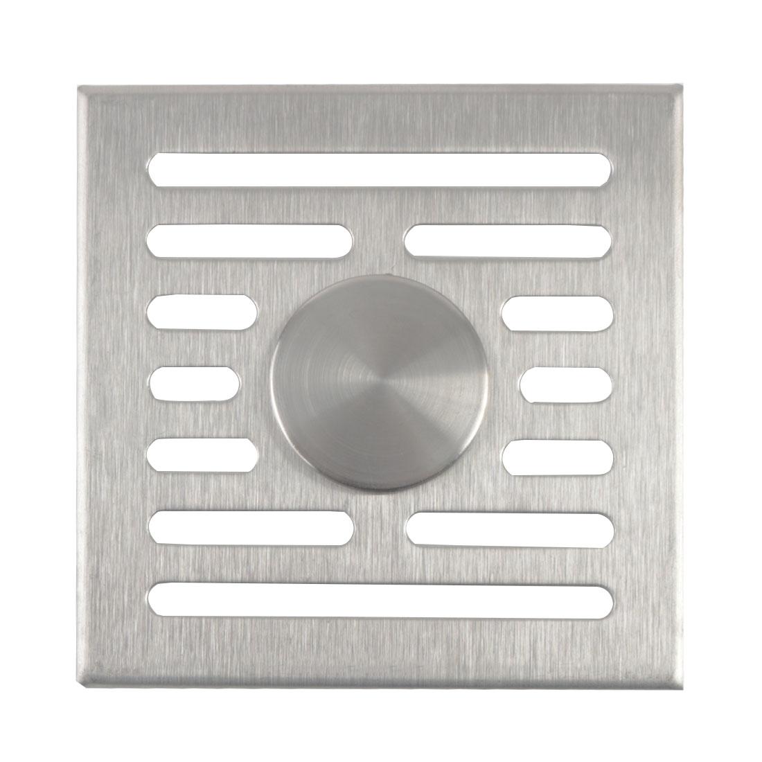 "Dual Use Floor Drain Cover Bathroom 3.7"" Square Strip Hole Sink Drain Strainer"