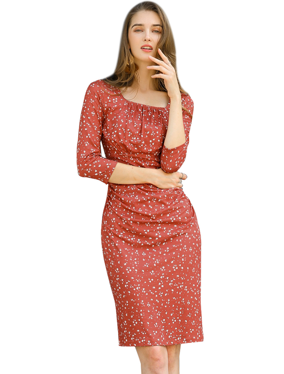 Allegra K Women's Dot Square Neck 3/4 Sleeve Ruched Dress Red S