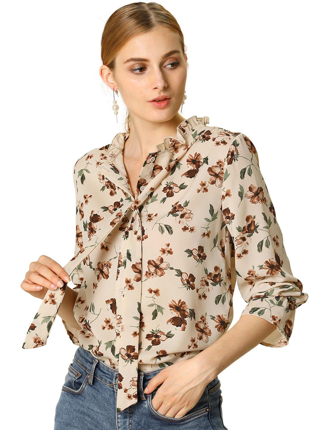 Allegra K Women's Floral Ruffle Tie Neck Long Sleeve Blouse Beige XS