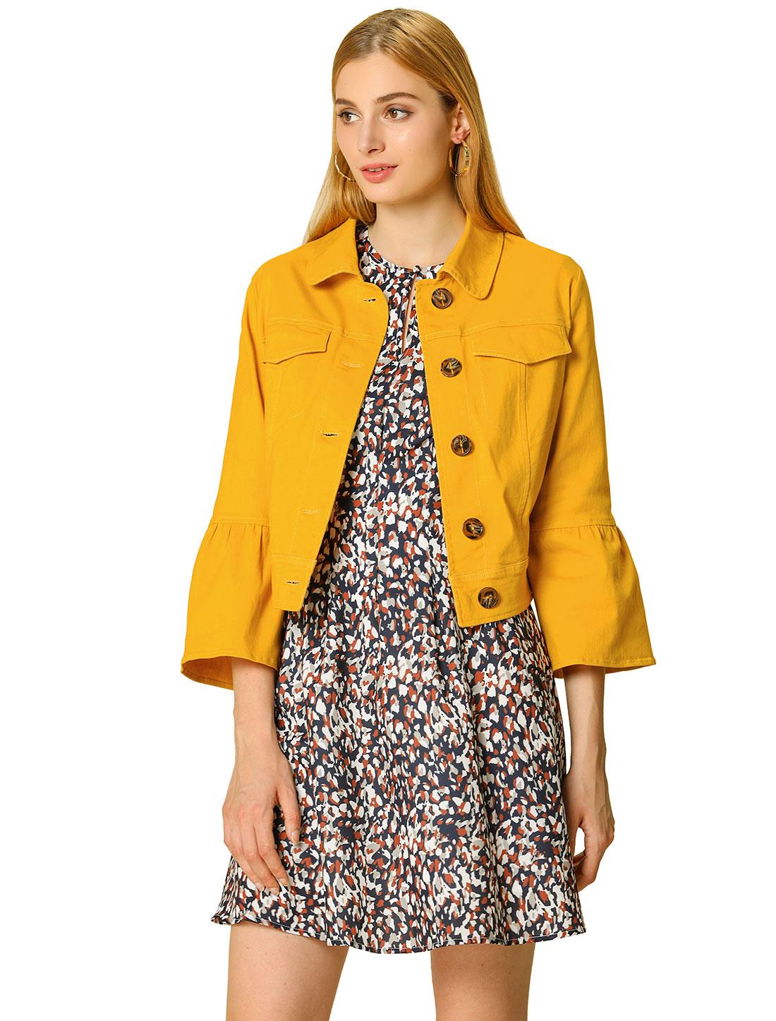 Allegra K Women's Ruffle 3/4 Sleeve Cropped Trucker Jacket Yellow M