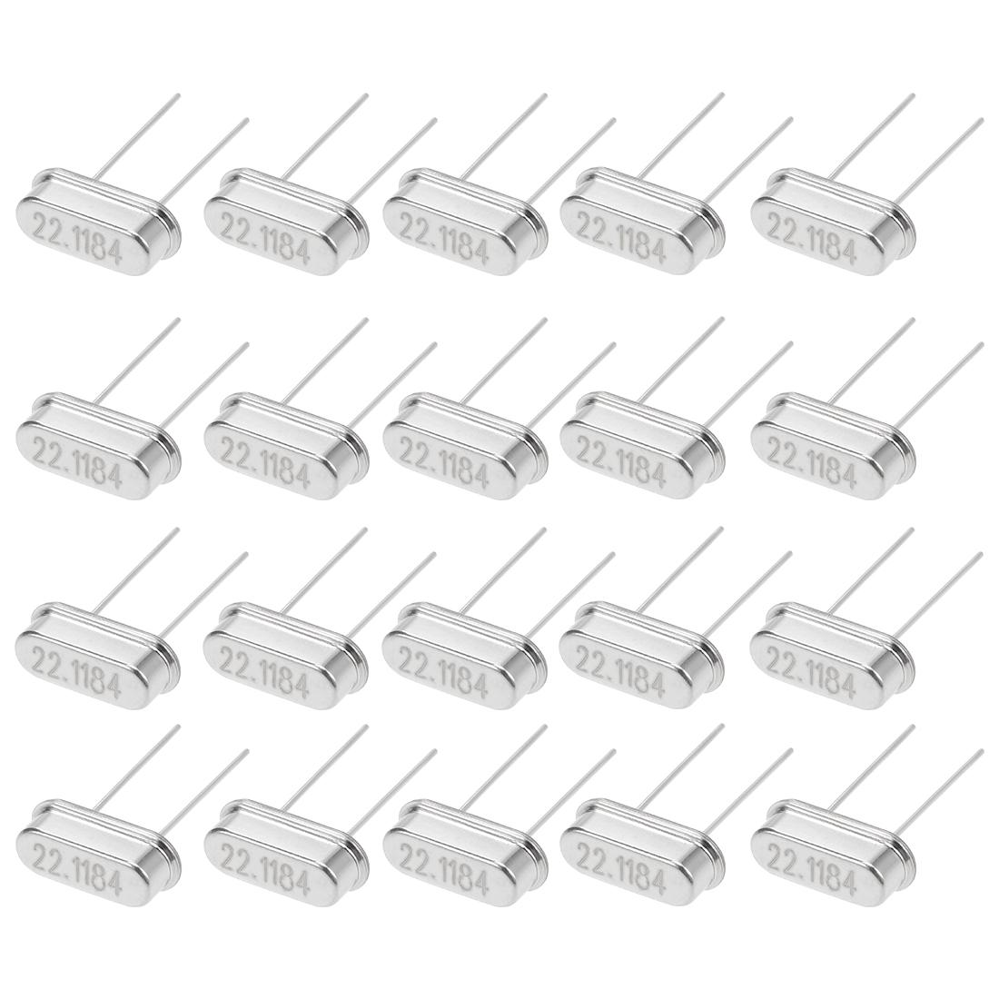 20 Pcs 22.1184MHz HC-49S DIP Quartz Crystal Oscillators Resonators Replacement
