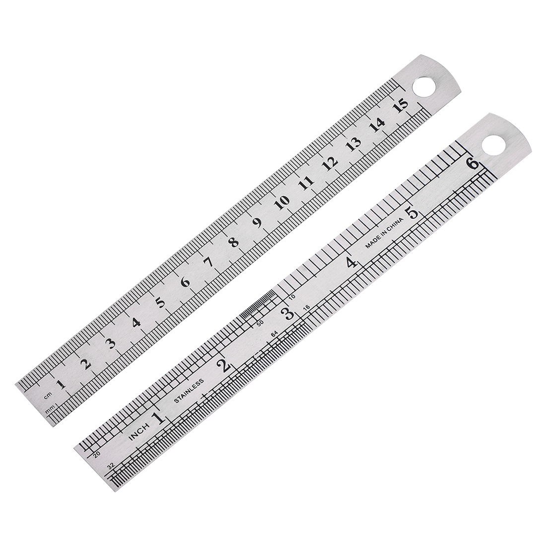Straight Ruler 15cm 6 Inch Stainless Steel Measuring Tool with Hole 5pcs