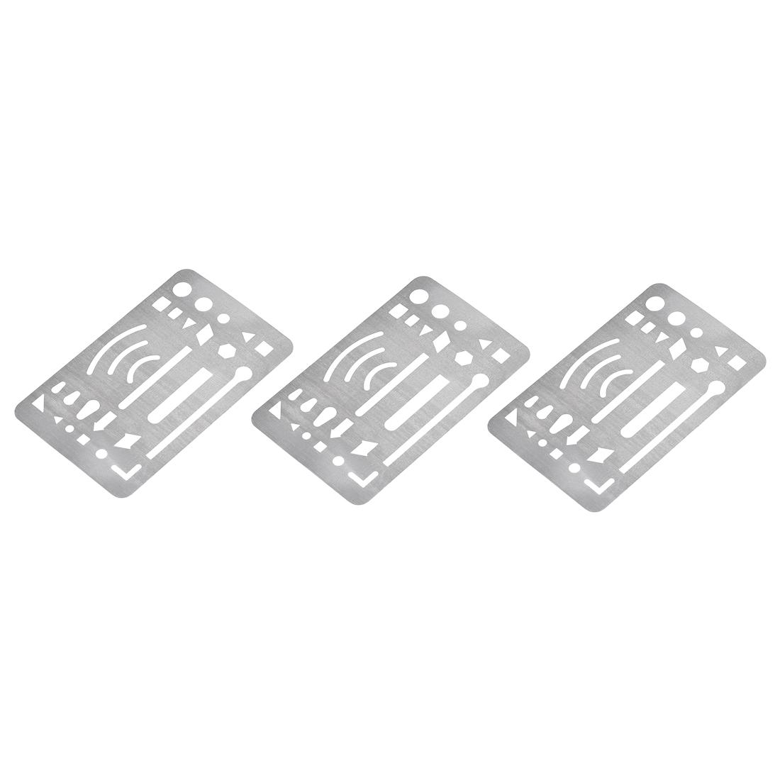 Erasing Shield 27 Patterns Stainless Steel for Drawing Engineering Design 3pcs