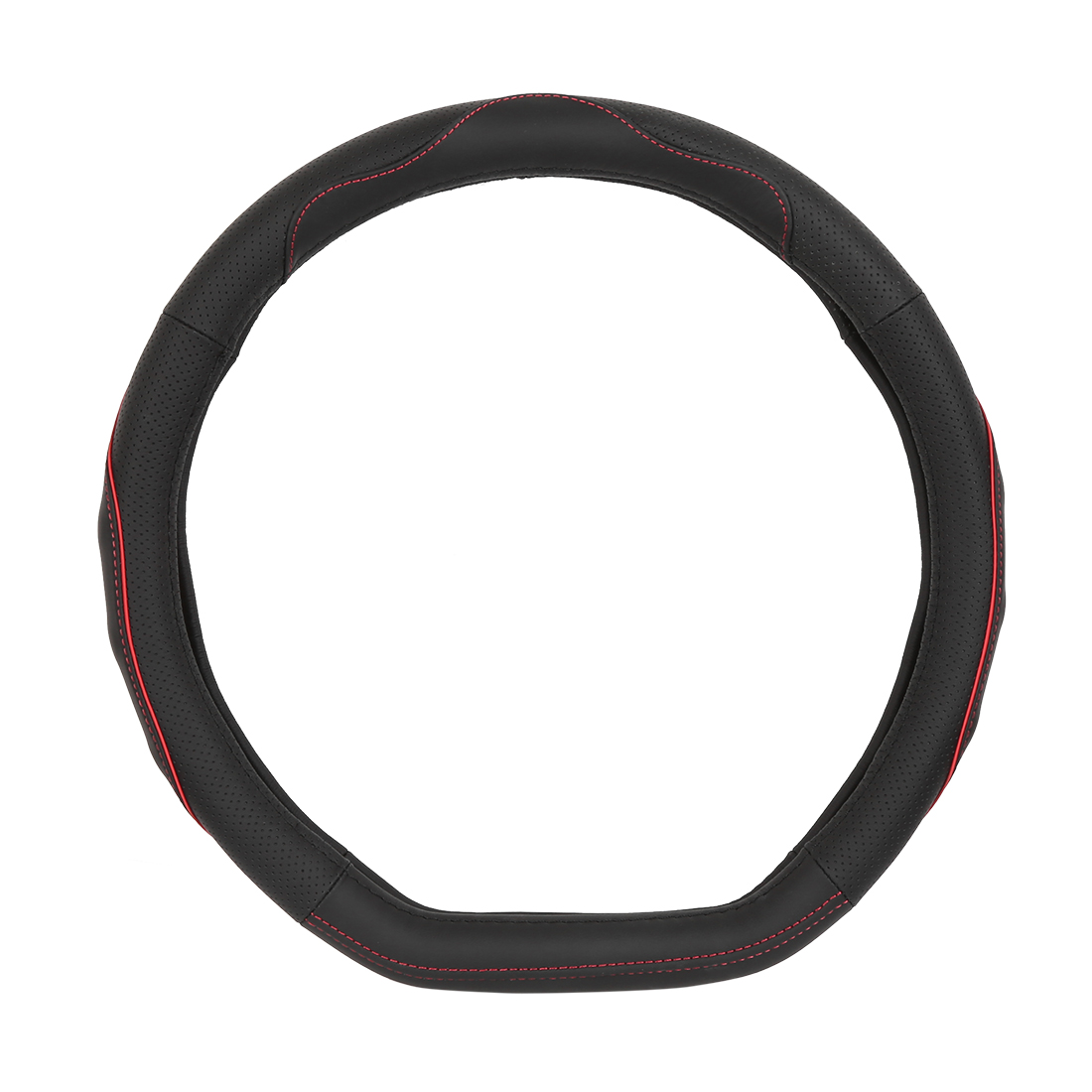 """38cm 15"""" Oval Leather Car Steering Wheel Cover Anti-Slip Protector Black Red"""
