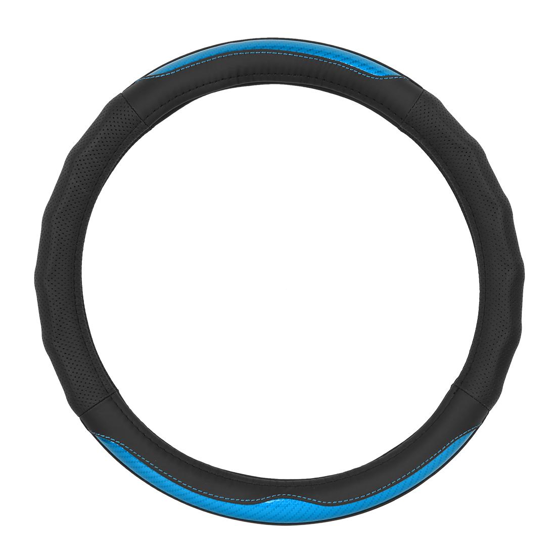 "38cm 15"" Car Auto Universal Steering Wheel Cover Anti-Slip Leather Black Blue"