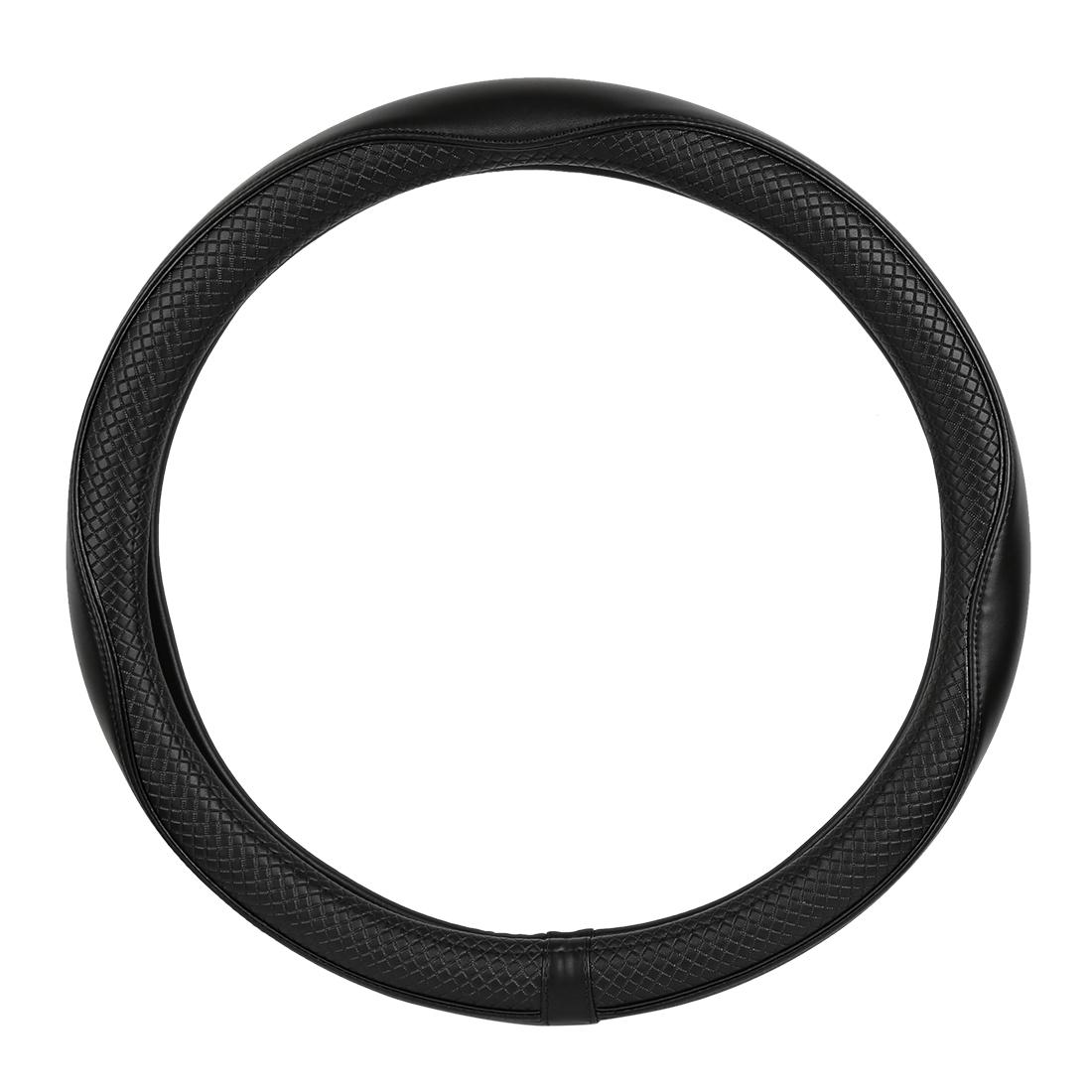 "38cm 15"" Leather Car Auto Steering Wheel Cover Anti-Slip Protector Black"