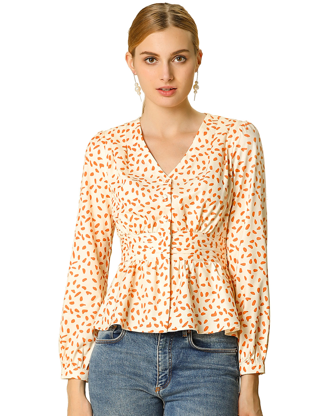 Allegra K Women's Dots V Neck Blouse Smocked Peplum Top Beige XS