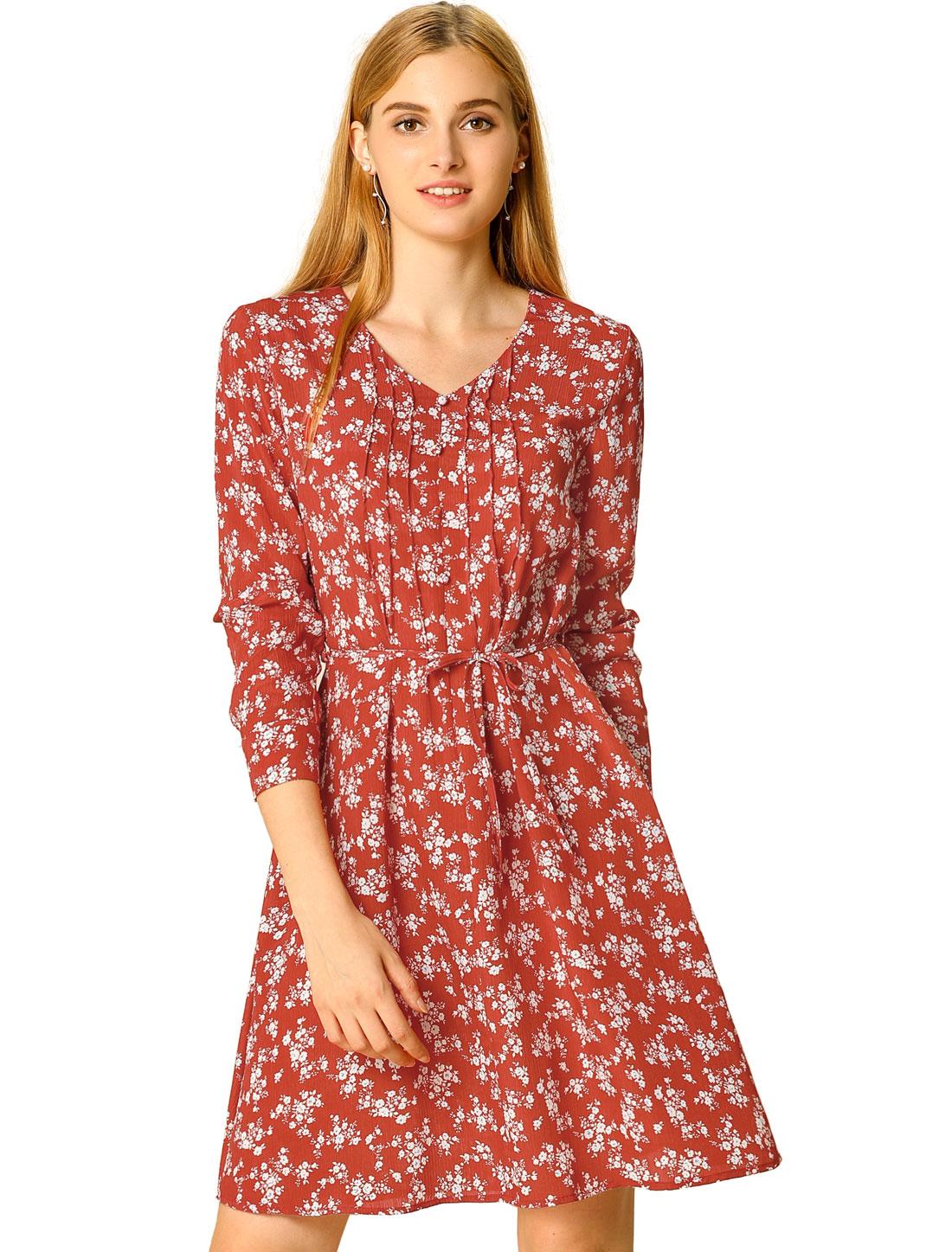 Allegra K Women's A-line V Neck Pleated Belted Floral Dress Red L